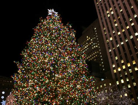 on white rockefeller center christmas tree in new york