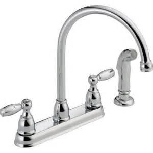 delta foundations 2 handle standard kitchen faucet with side sprayer in chrome 21988lf the
