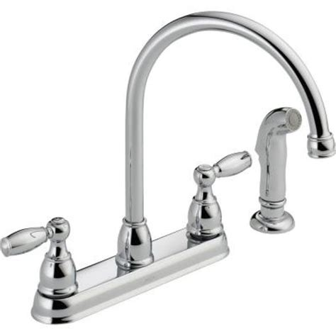 Home Depot Delta Kitchen Faucets Delta Foundations 2 Handle Standard Kitchen Faucet With Side Sprayer In Chrome 21988lf The