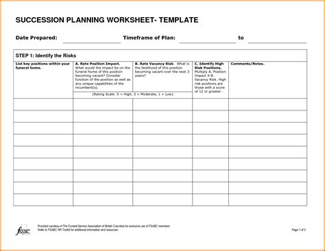 succession plan templates succession planning worksheet worksheets releaseboard