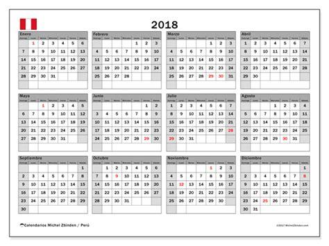 Calendario Annuale 2018 Calendario Para Imprimir 2018 D 237 As Feriados En Per 250 Per 250