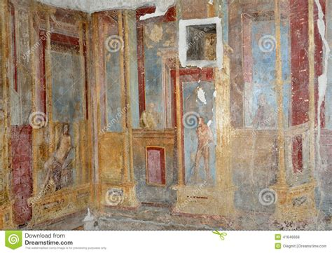 Italian Wall Mural interior walls of the ancient roman villa stock photo