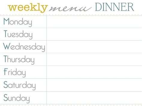 free weekly menu template the world s catalog of ideas