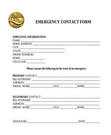 emergency contact form template free sle emergency contact form 11 free documents in word