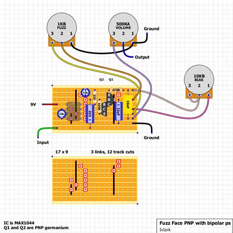 bipolar transistor guitar guitar fx layouts fuzz pnp negative ground with simple bipolar power supply