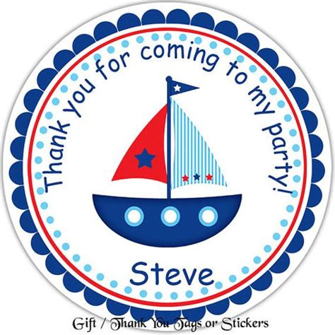 boat tags sail boat personalized stickers party favor tags thank