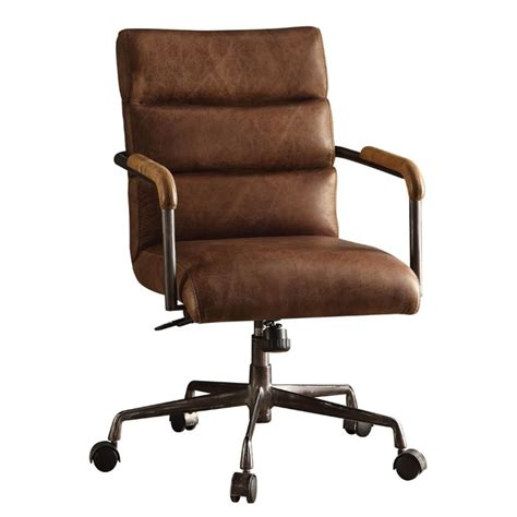 Acme Harith Leather Swivel Office Chair In Retro Brown 92414 Retro Office Furniture