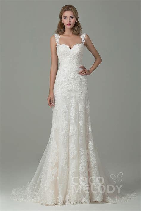 Sheath Column Straps Court Train Wedding Dress CWVT15002