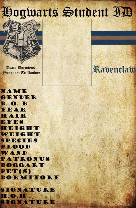 Hogwarts Id Card Template by Ravenclaw Hogwarts Id By Hogwartslover On Deviantart