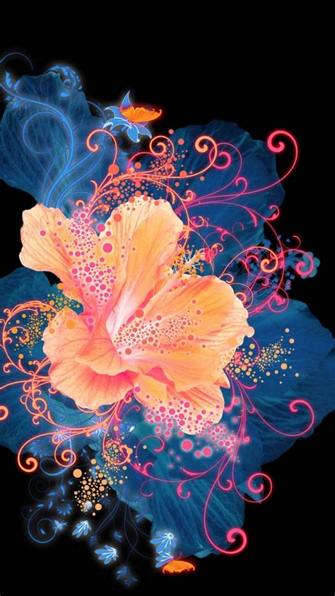 hd abstract flower neon painting android wallpaper