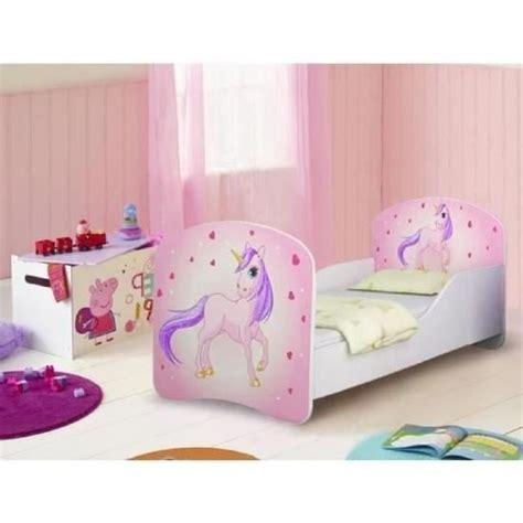 tete de lit fille 2519 lit enfant motif et licorne avec sommier et matelas