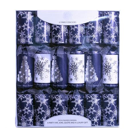 6 family christmas crackers 15 quot blue white buy