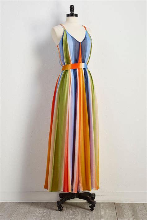 Rainbow Maxy Dress versona rainbow stripe maxi dress