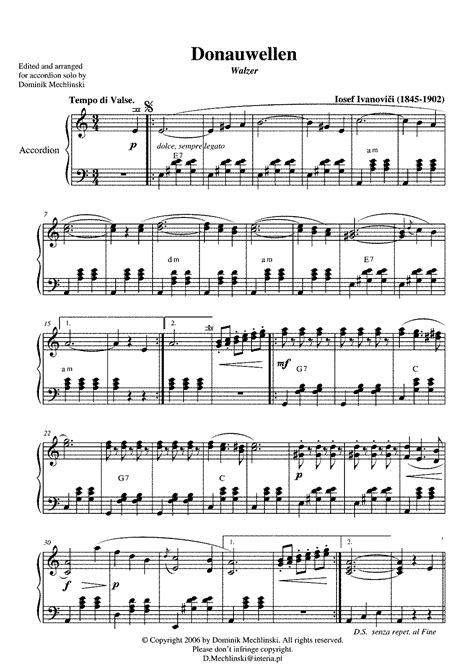 free printable sheet music for accordion accordion sheet music free for beginners donauwellen