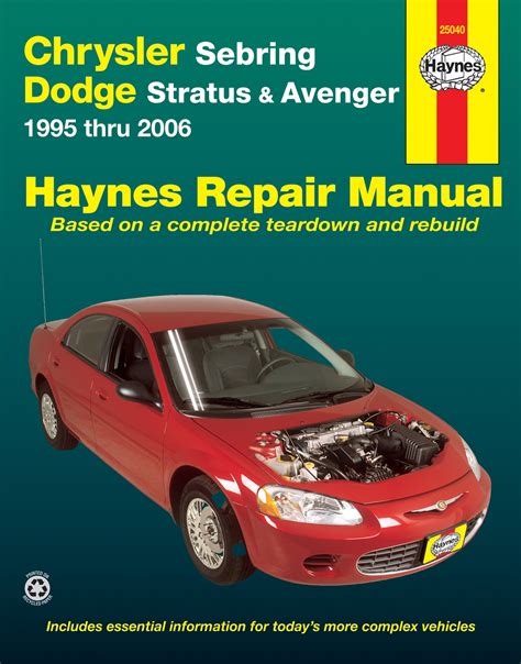 car engine manuals 1995 chrysler sebring parking system chrysler sebring dodge stratus avenger 95 06 haynes repair manual haynes manuals