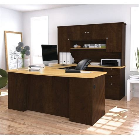 Bestar Manhattan U Shaped Computer Desk In Secret Maple Home Office U Shaped Desk