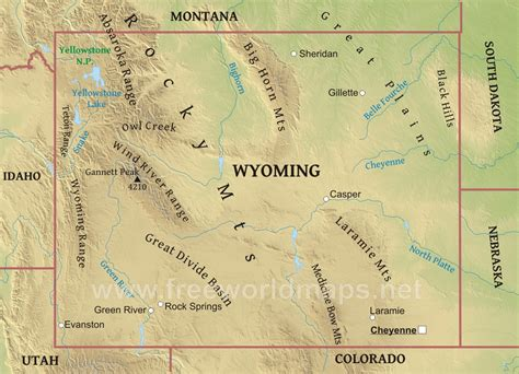 political map of wyoming physical map of wyoming