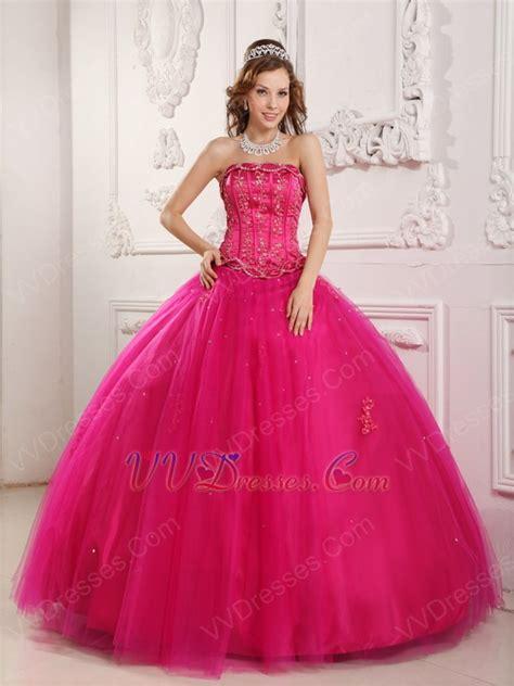 fuchsia color dress bordure strapless winter quinceanera thick dress in