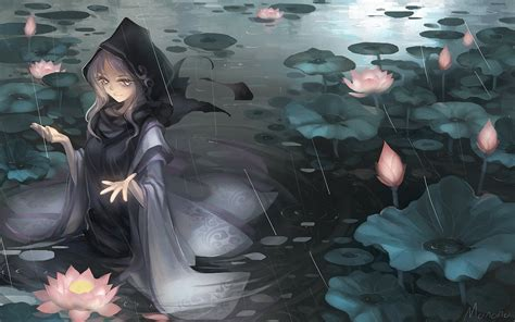 anime girl in the rain wallpaper anime girl hooded pedals rain water