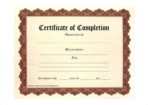 certificate of completion templates free printable 7 free printable certificates of completion pay stub