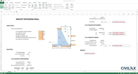 Gravity Retaining Wall Design Spreadsheet by Analysis Of Gravity Retaining Wall Civil Engineering