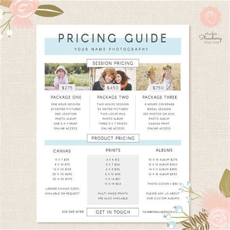 Photography Pricing Template Pricing Guide by