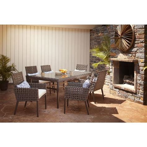 home depot outdoor patio dining sets hton bay raynham 7 patio dining set dy12091 7pc
