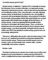 Essay About Nuclear Power by Nuclear Energy Or Bad At Essaypedia
