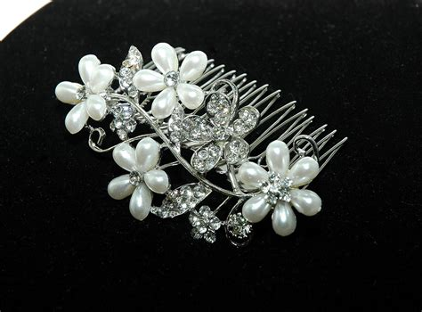 flower bridal wedding comb flower comb