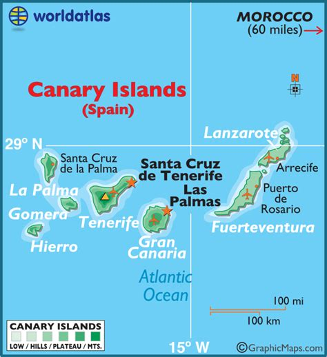 canary islands map canary islands large color map