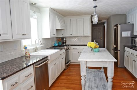 white kitchen with island remodelaholic white kitchen overhaul with diy marble island