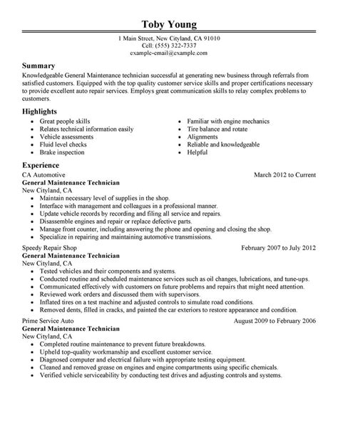 Maintenance Technician Resume by General Maintenance Technician Resume Exle Automotive