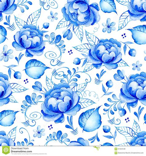 Muster Hintergrund Blumen Blau by Abstract Watercolor Floral Seamless Pattern With Folk