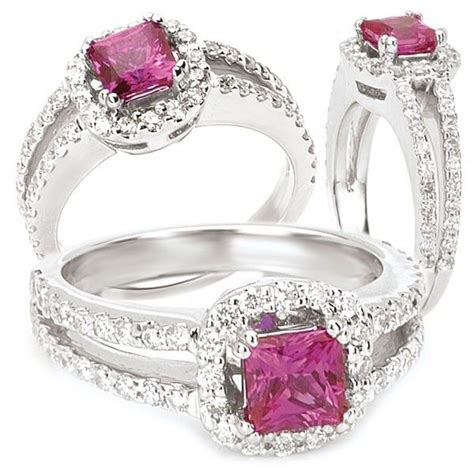 made 18k created 5mm princess cut pink sapphire