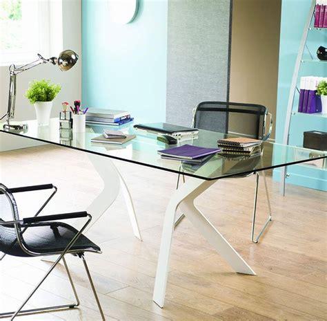 bureau en verre blanc bureau design en verre et m 233 tal cize pi 232 tement coloris