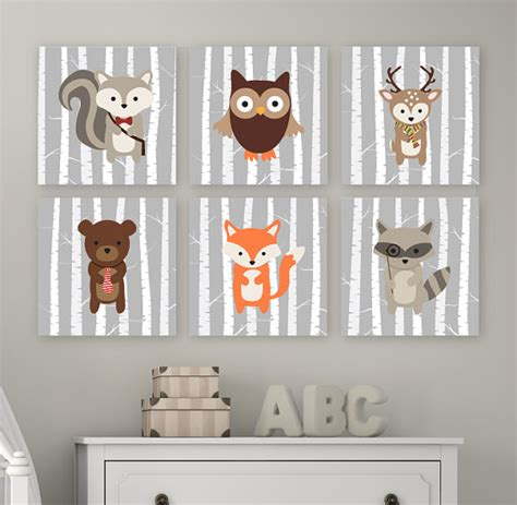 Woodland Nursery Art Woodland Nursery Decor Forest Animals Woodland Decor Nursery