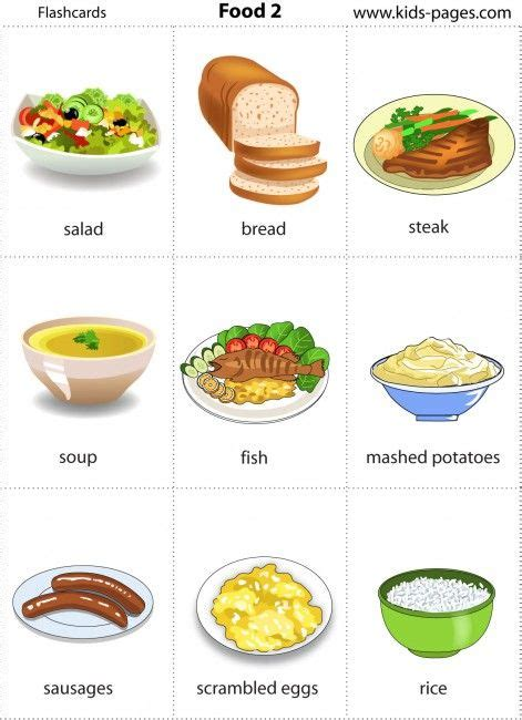 Printable Food Flashcards For Toddlers | kids pages food 2 healthy eating diet pinterest