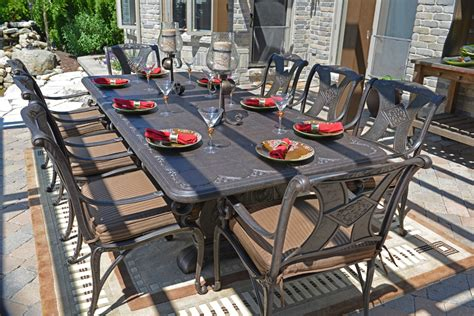 Cast Aluminum Patio Dining Sets Sale Amalia 8 Person Luxury Cast Aluminum Patio Furniture Dining Set With Stationary Chairs