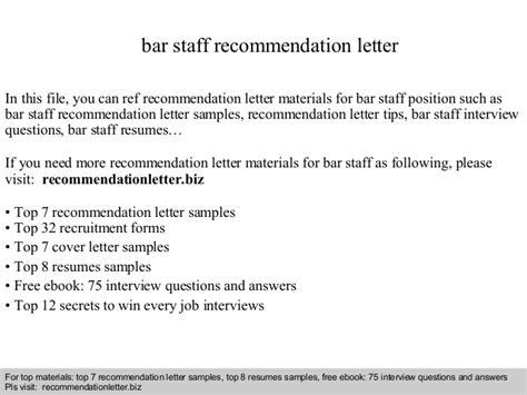 Recommendation Letter Kitchen Staff Bar Staff Recommendation Letter