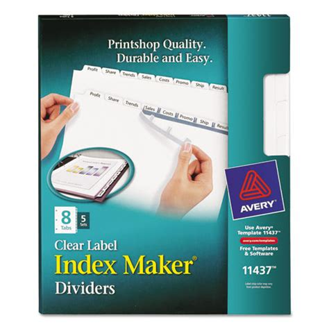Avery 11437 Index Maker Print Apply Clear Label Dividers With White Tabs Avery Index Maker 8 Tab Template