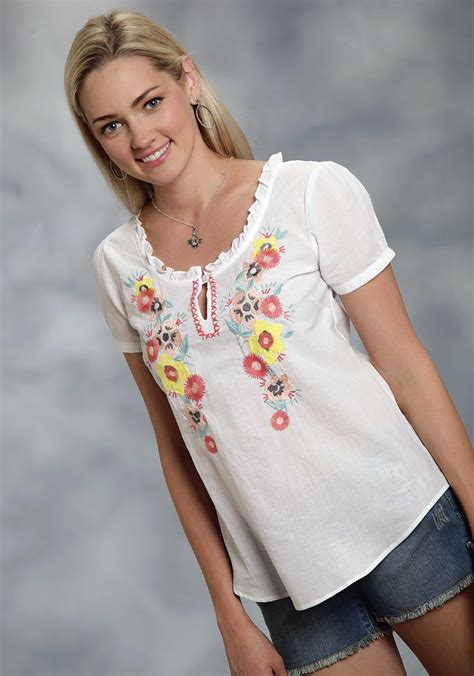 Wst 19210 Flower Embroidered Blouse roper 174 s white floral crewel embroidered
