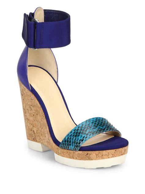 jimmy choo neston mixed media cork platform wedge sandals