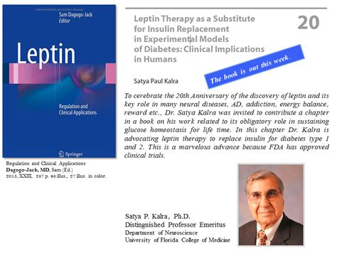 Uf Mba Class Schedule by Dr Satya Kalra Publishes New Book Chapter On Leptin