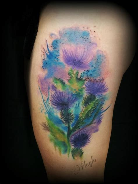 watercolor tattoos utah watercolor style thistle thigh by haylo tattoos