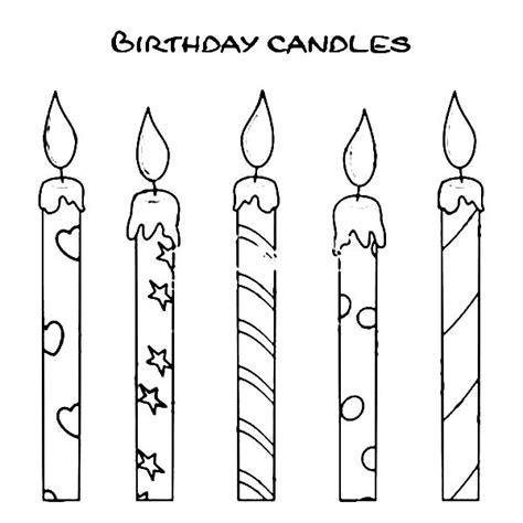 how to draw birthday candle coloring pages abc