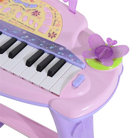 We175 Electronic Piano Bag Pink qaba 32 key butterfly garden electronic piano keyboard with stool and microphone pink