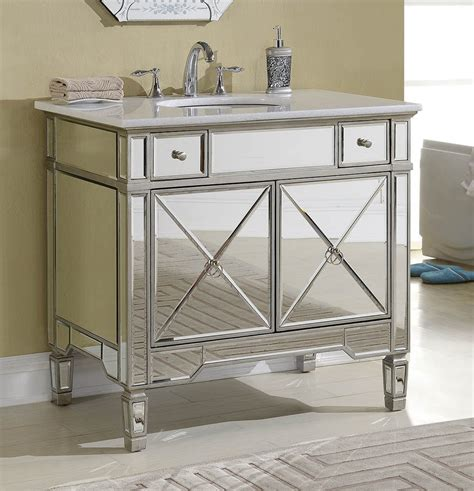 Adelina 36 Inch Mirrored Silver Bathroom Vanity White Mirrored Bathroom Vanity Cabinet