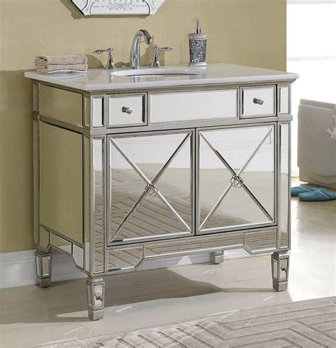 Adelina 36 inch Mirrored Silver Bathroom Vanity White