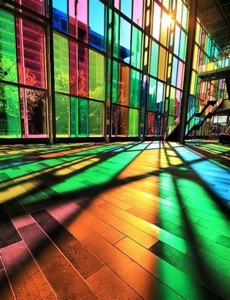 different colored different colored windows from floor to ceiling cool