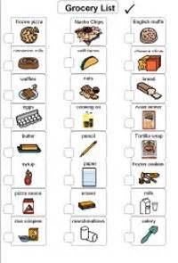 preschool shopping list printable visual grocery list for non readers special ed ideas